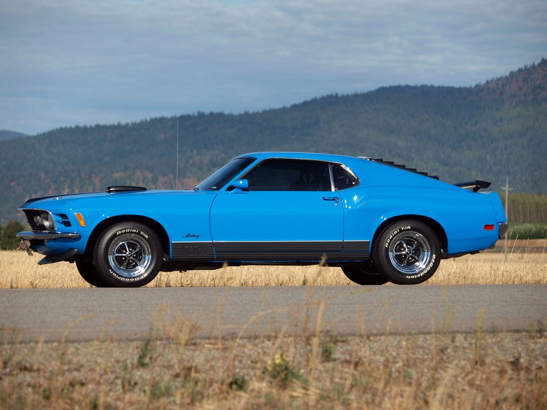 1970 mustang mach 1 fastback side view